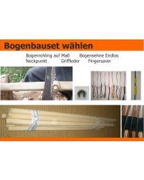 """Bogenrohling Manau Bogenbauholz bis 25-48"""" exakter Schnitt mit Sehne und Nockpunkt"""